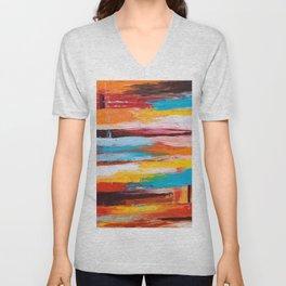 Orange Abstract Unisex V-Neck