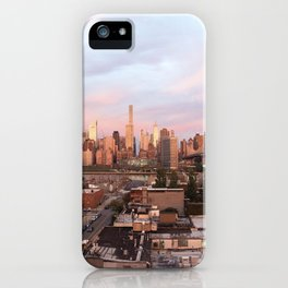 Manhattan City Skyline from Queens at Sunrise iPhone Case