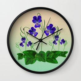 Blue Violets Wall Clock