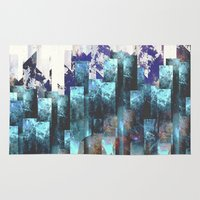 cities Area & Throw Rugs featuring Cold cities by HappyMelvin