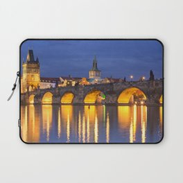 The Charles Bridge in Prague, Czech Republic at night Laptop Sleeve