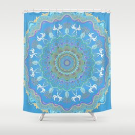 chanukkah-mandala-angels-candelars-judaica art-Jewish Holidays-joy-light-gift-3D effect Shower Curtain