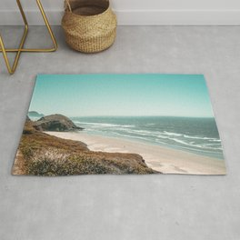 Beach Horizon | Teal Color Sky Ocean Water Waves Coastal Landscape Photograph Rug