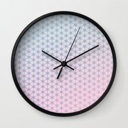pink and blue pattern Wall Clock