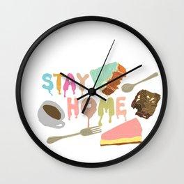 Stay Home Coffee Cake Wall Clock