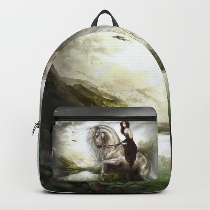 Morning welcome - Royal redead girl riding a white horse Backpack