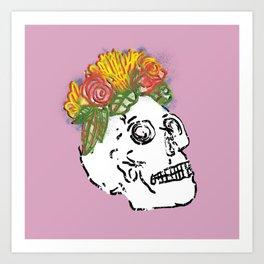 SKULL & FLOWERS - PINK Art Print