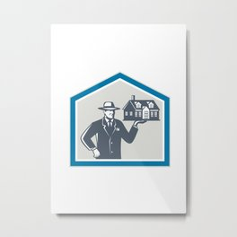 Real Estate Salesman Sell House Retro Metal Print