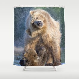 Marvelous Brown Bear Mother With Two Cute Little Cubs Shaking Off Water Ultra HD Shower Curtain