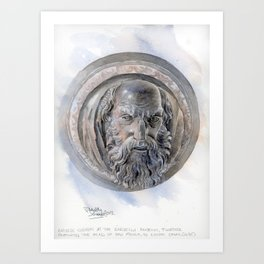Bargello Bronze Canon, watercolour Art Print