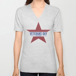 Veterans Day Commemorative Star Design Unisex V-Neck