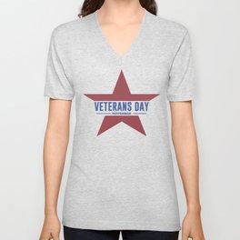 Veterans Day Commemorative Star Design Unisex V-Neck