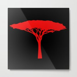 Red Umbrella Tree Metal Print
