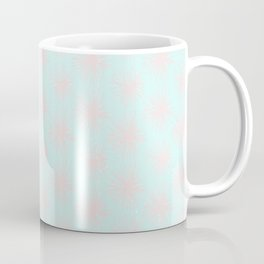 Merry christmas- pink snowflakes and snow on aqua background I Coffee Mug