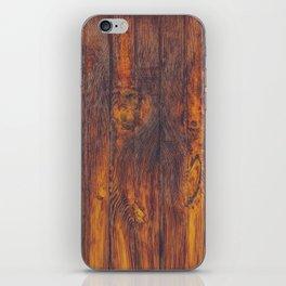 Dark Vertical Wood Planks Wall iPhone Skin