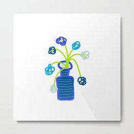 BLUE FLOWERS IN BLUE VASE Metal Print