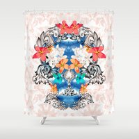 hawaiian Shower Curtains featuring Hawaiian Skull by Anis