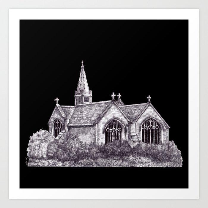 All Saints Parish Church (on black( Art Print