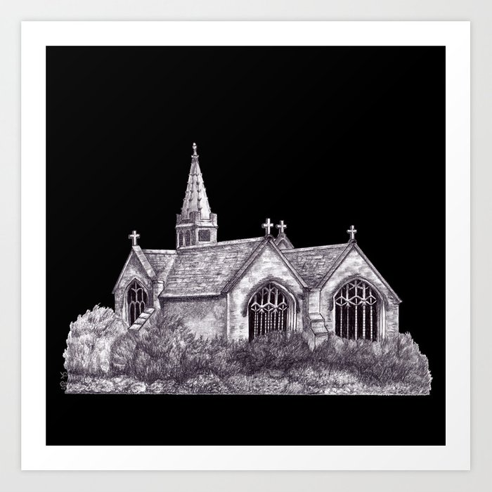 All Saints Parish Church (on black( Art Print