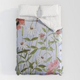 Wildflower Botanical Garden Flower Blue Skies Watercolor Comforters