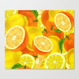 Tropical Fruits Pattern Canvas Print
