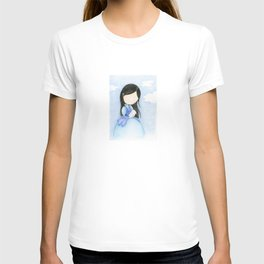 Blue girl with rabbit | watercolor children art T-shirt