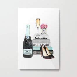 Champagne, Teal, books, shoes, peonies, Peony, Fashion illustration, Fashion, Amanda Greenwood, gift Metal Print