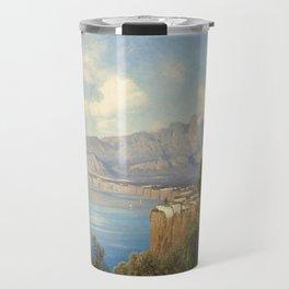 View of Sorrento Italy by Oswald Achenbach Italian Landscape Travel Mug