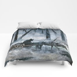 Grim Reaper with Horse in the Woods Comforters