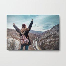 Tourist on the peak of high rocks. Big canyon on Balkan peninsula Metal Print