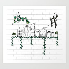 Coffee Shop Shelf Art Print