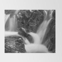 Shelving Rock Stream - Black & White Throw Blanket