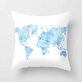 Light blue watercolor world map Throw Pillow