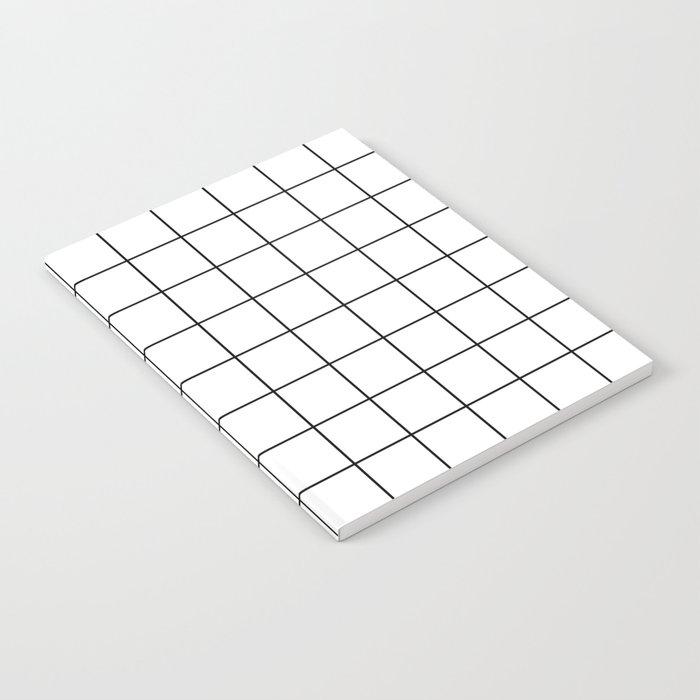 Grid Simple Line White Minimalist Notebook