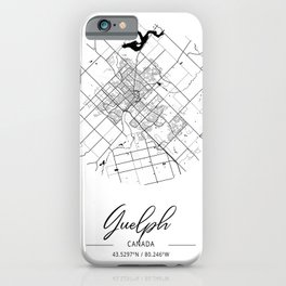 Guelph Area City Map, Guelph Circle City Maps Print, Guelph Black Water City Maps iPhone Case