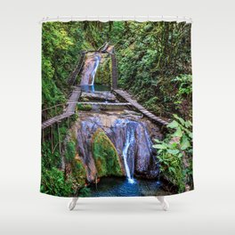 Valley of 33 waterfalls Shower Curtain