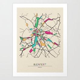 Colorful City Maps: Budapest, Hungary Art Print