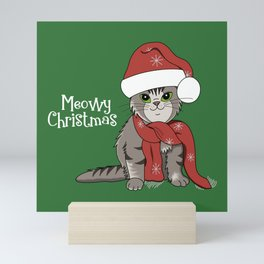 Cat Lover's Meowy Christmas Santa Cat With Green Background Mini Art Print