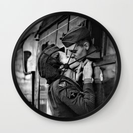The Kiss - The Last Goodbye - Lovers kissing goodbye through open window on train black and white photograph Wall Clock