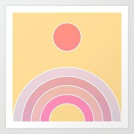 Sunset ombré retro rainbow Art Print