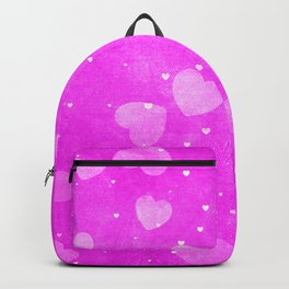 Neon Hot Pink Hearts Pattern Backpack