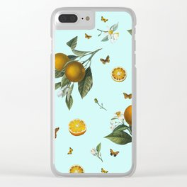 Oranges and Butterflies on Mint Clear iPhone Case