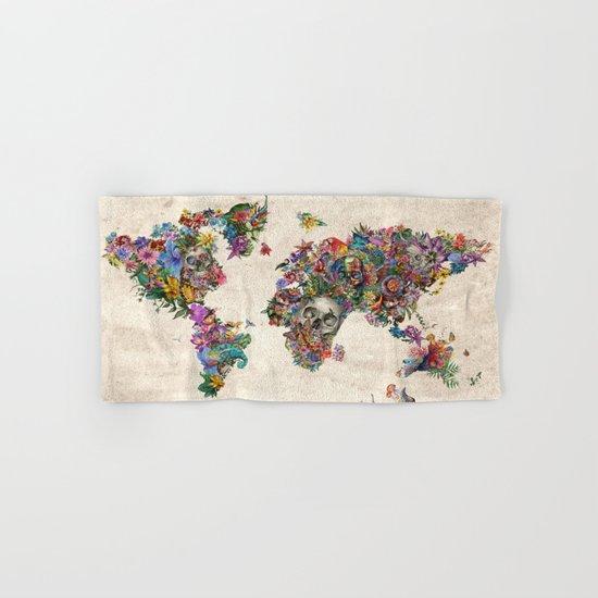 floral skull world map 2 Hand & Bath Towel