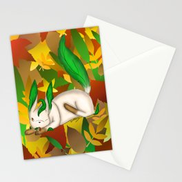 Playing with Leaves Stationery Cards