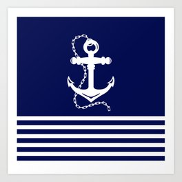 AFE Navy & White Anchor and Chain Art Print
