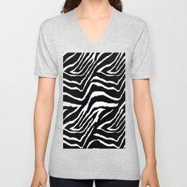 Zebra Black and White #2 Unisex V-Neck
