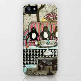 """Penguins are watching TV""  Illustrated print. iPhone Case"
