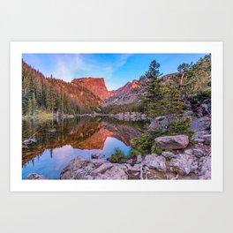 Sunrise on Hallet Peak - Dream Lake - Rocky Mountain National Park Art Print