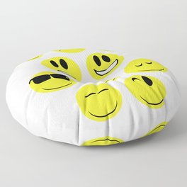 Yellow Face Emotions Floor Pillow