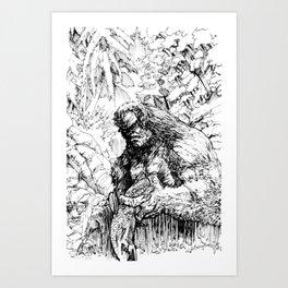 SASQUATCH EATING SALMON Art Print